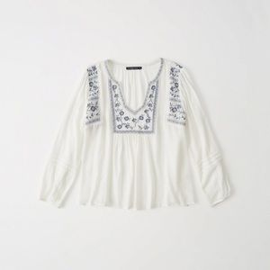 Abercrombie and Fitch Embroidered Peasant Top